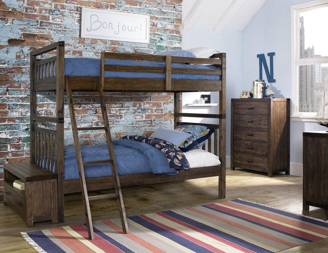bunk beds save floor space in shared bedrooms